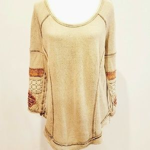 FREE PEOPLE BOHEMIAN LONG SLEEVE THERMAL TOP~SMALL